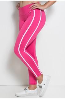 Calça Fuseau Cós Baixo com Duas Listras (Rosa Pink) | Ref:F654-001