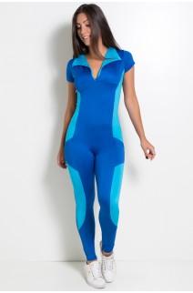 Macacão Liso com Gola e Bolso (Azul Royal / Azul Celeste)| Ref: KS-F686-002