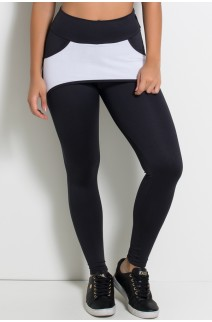 Calça Katherine com Bolso em Detalhe Dry Fit (Preto / Branco) | Ref: KS-F690-001