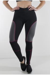 Calça Lisa com Detalhe Mescla e Ponto de Cobertura (Preto + Rosa Pink + Mescla) | Ref: KS-F724-001