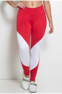 Calça Duas Cores com Cós Duplo (Vermelho / Branco) | Ref: KS-F748-002