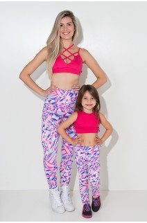 Kit com 5 (cinco) Leggings Infantis Estampadas com Costura Lateral (Cores Variadas) (P) | Ref: KS-KI04-001