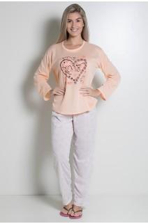 Pijama feminino longo 248 (Salmão com Coração) CEZ-PA248-009