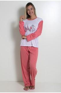 Pijama feminino longo 124 (Salmão) CEZ-PA124-002