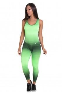 Macacão Fitness Comprido Carol (Mancha Verde Limão e Preto)  | Ref: F19-003