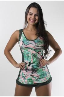 Vestido Estampado com Detalhe Liso + Shortinho Liso (Folha Verde e Rosa/Verde Escuro) | Ref: KS-F1653-001