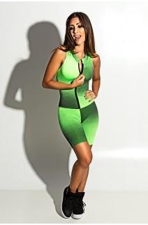 Macaquinho Fitness de Gola e Fecho (Mancha Verde Limão e Preto) | Ref: KS-F59-001