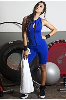 Macaquinho Fitness de Gola e Fecho Cores Lisas (Azul Royal) | Ref: KS-F93-001