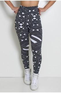 Legging Estampada (Branco com Traços Pretos) | Ref: KS-F27-094