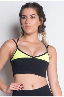 Top Nadador Duas Cores com Tiras (Preto / Verde Fluor) | Poliamida Excelente! | Ref: KS-PL01-001
