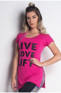 Blusa Viscolycra com Abertura Lateral e Silk (Live Love Lift) | (Rosa Pink) | Ref: KS-PL18-001