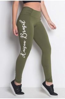 Calça com Recorte Cós Franzido e Silk (Kaisan Brasil) | Poliamida Excelente! | (Verde Oliva) | Ref: KS-PL50-001