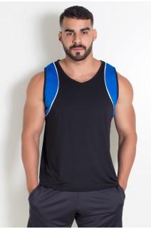 Camiseta de Microlight Masculina 2 Cores com Vivo (Preto - Azul Royal com Vivo Branco) | Ref: KS-H05-001
