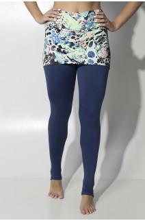 Calça Legging Lisa com Tapa Bumbum Estampado (Abstrato Azul Verde e Laranja Flúor) | Ref: F1593