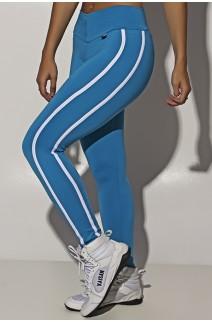 Calça Fuseau Cós Baixo com Duas Listras (Azul Celeste) | Ref:F654-005