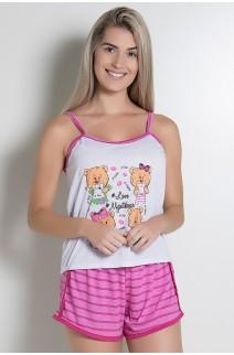 Babydoll Feminino 054 (Pink com Ursinho)
