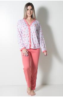 Pijama feminino longo 182 (Goiaba Flores) | Ref: CEZ-PA182-013