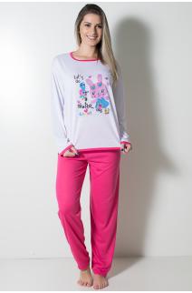 Pijama Feminino Longo 074 (Pink Coelho) | Ref: CEZ-PA074-005