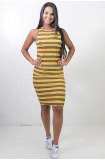 Vestido Listrado Midi Comprido (Amarelo) | Ref: CEZ-CZ601-002