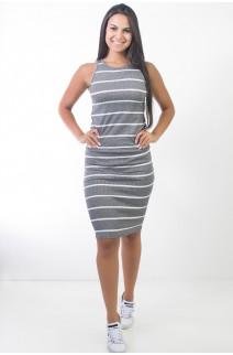 Vestido Listrado Midi Comprido (Cinza) | Ref: CEZ-CZ601-001