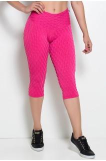 Corsário Barbara Tecido Bolha Cintura Alta (Rosa Pink) | Ref: KS-F397-004