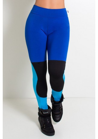 Calça Três Cores com Recorte (Azul Royal / Preto / Azul Celeste) | Ref:F903-001