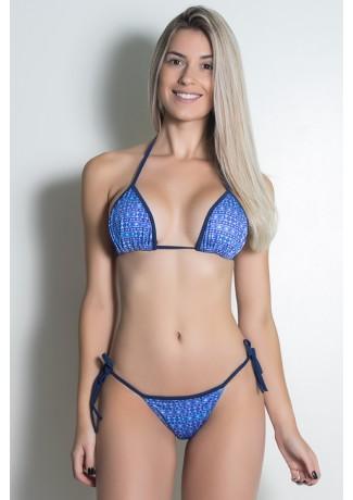 Biquini Cortininha Sublimada (Mosaico Violeta e Azul / Azul Marinho) | Ref:BQ101-002