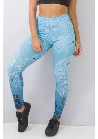 Calça Feminina Legging Sublimada Blue Skull | Ref: CAL365-041