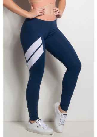 Calça Com Detalhe Em Diagonal E Cós De Elastico (Azul Marinho / Branco / Coral Tandy)   Ref: CAL421-003/002/021