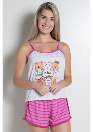 Babydoll Feminino 054 (Pink com Ursinho) CEZ-PA054-008