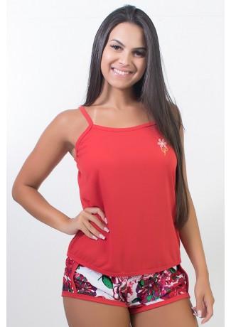 Babydoll de malha 067 (Vermelho) | Ref: CEZ-PA067-013