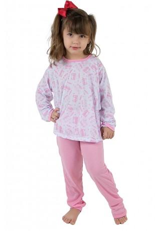 Pijama longo infantil 077 (Rosa) | REF: CEZ-PA077-002