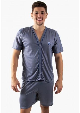Pijama Mas. de Botão 168 (Cinza) | Ref: CEZ-PA168-002