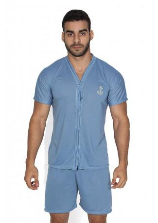 Pijama Mas. de Botão 168 (Azul acinzentado) | Ref: CEZ-PA168-003
