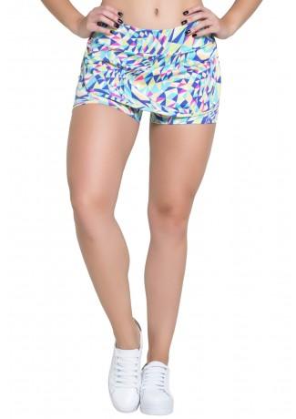 Short Saia Carla (Triângulos Azul Rosa e Amarelo) | Ref: F108-031