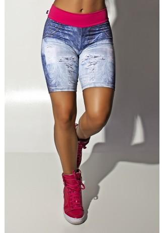 Bermuda Jeans Estampa Digital com Cós Rosa Pink | Ref.: F1114-001