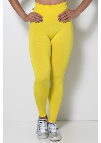 Calça Legging Tecido Bolha Invertida (Amarelo | Ref: F119-001