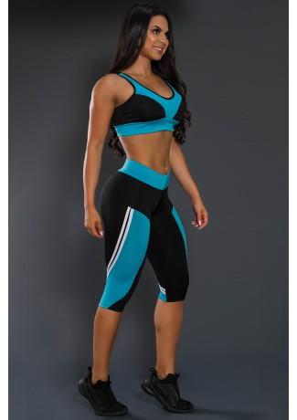 Conjunto Fitness Corsário Preto com Azul Celeste | Ref: F14-004