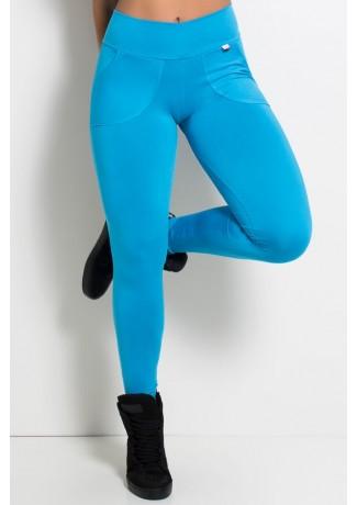 Calça Legging Lisa com Bolso (Azul Celeste) | Ref: F146-004