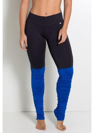 Calça Legging Duas Cores com Perna Franzida (Preto / Azul Royal) | Ref:F1792-004
