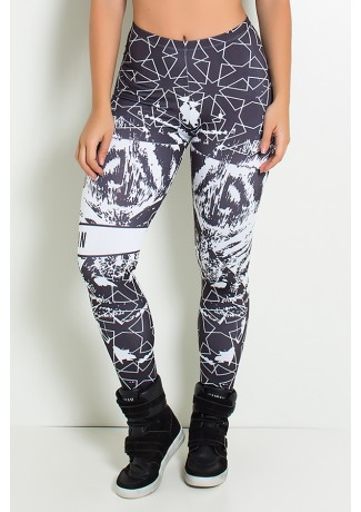 Legging Tiger Force Preto e Branco Estampa Digital | Ref: F1887-001