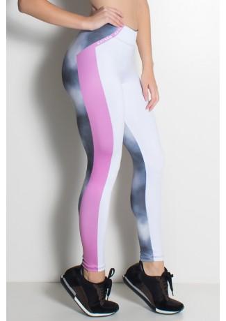 Legging Branco Rosa e Névoa Sublimada | Ref: F1946-001