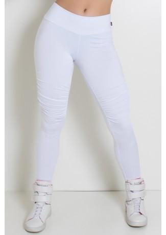 Calça Lisa com Franzido na Perna (Branco) | Ref:F2055-001