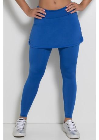 Calça Legging Lisa com Saia Franzida (Azul Royal) | Ref: F315-002
