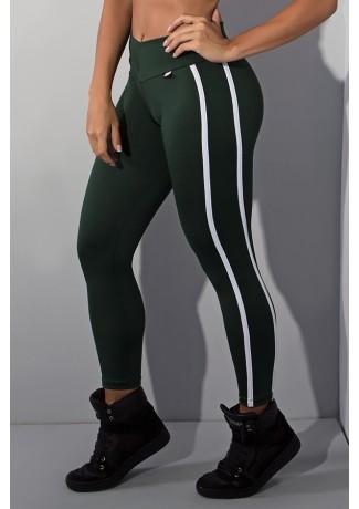 Calça Fuseau Cós Baixo com Duas Listras (Verde Escuro) | Ref:F654-006