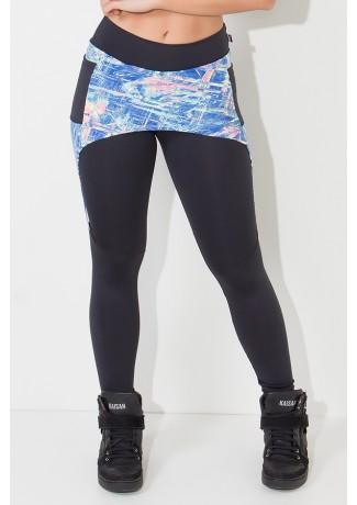 Legging Lisa com Tapa Bumbum Estampado e Bolso (Preto / Rabiscos Fluorescentes com Azul) | Ref:F674-001