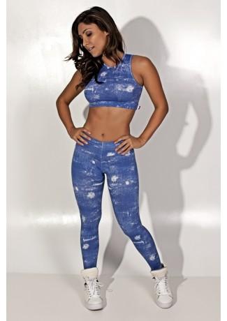 Conjunto Cropped e Legging Jeans  | Ref: KS-F1227-001