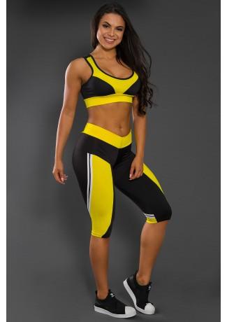 Conjunto Fitness Corsário Preto com Amarelo | Ref: KS-F14-001