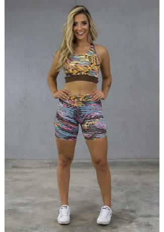 Conjunto Fitness Estampado com Detalhe Liso (Amarelo Azul e Rosa com Rabiscos Pretos) | Ref: KS-F1510-001