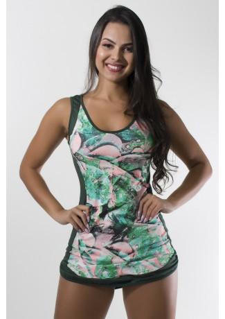 Vestido Estampado com Detalhe Liso + Shortinho Liso (Folha Verde e Rosa/Verde Escuro)   Ref: KS-F1653-001